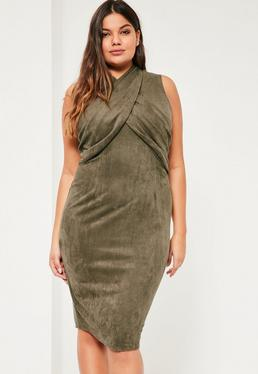 Plus Size Exclusive Khaki Faux Suede Midi Dress