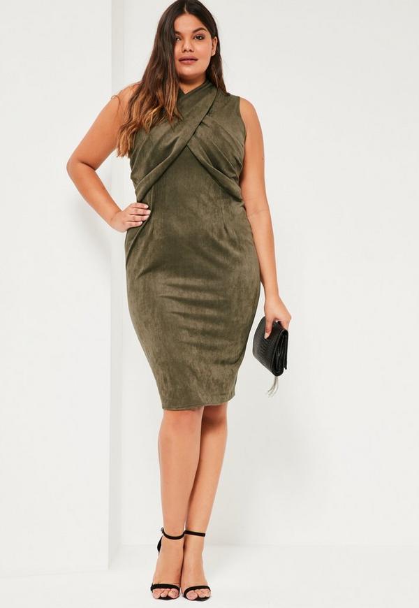 Plus Size Khaki Faux Suede Midi Dress Missguided
