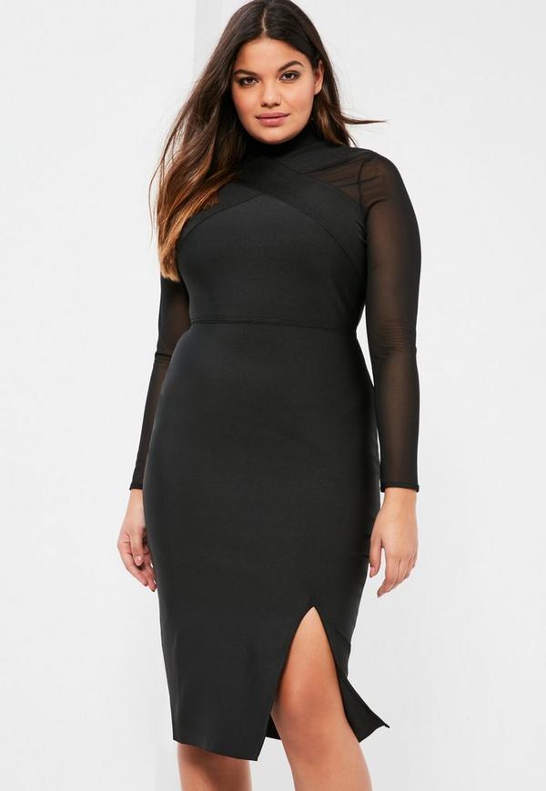 Plus Size Exclusive Black Premium Bandage Mesh Panel Dress