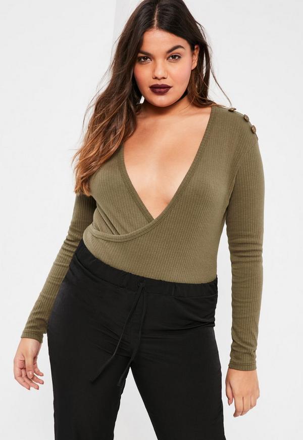 Plus Size Exclusive Khaki Ribbed Wrap Front Bodysuit
