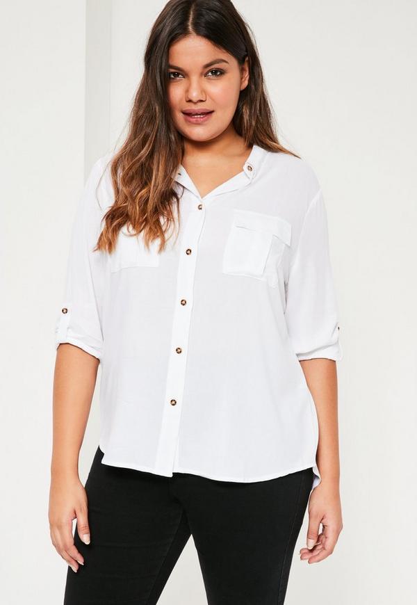 Plus Size White Pocket Detail Shirt