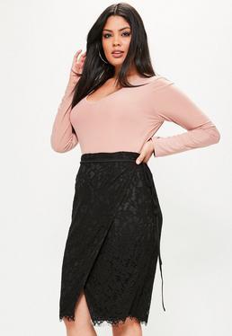 Plus Size Black Wrap Tie Waist Lace Skirt