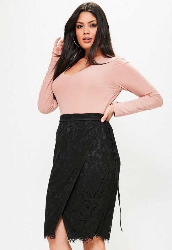 Plus Size Black Wrap Tie Waist Lace Skirt