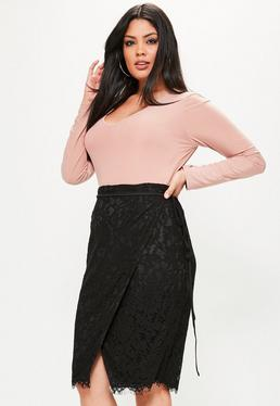 Plus Size Exclusive Black Wrap Tie Waist Lace Skirt