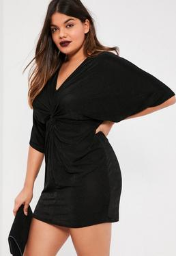 Plus Size Slinky Kimono Mini Dress Black
