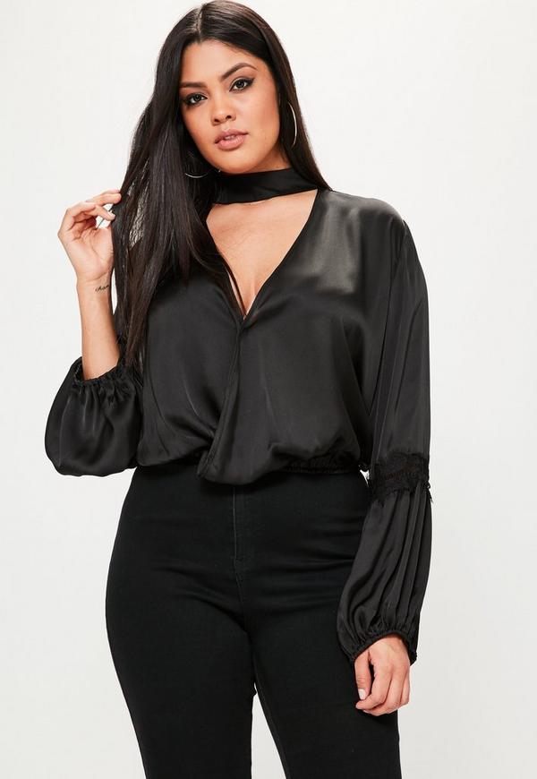 Plus Size Exclusive Black Satin Choker Neck Lace Insert Blouse