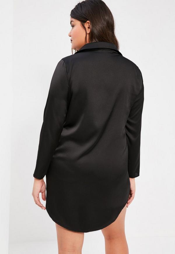 plus size exclusive black satin shirt dress missguided