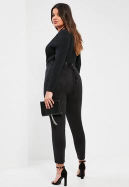 Plus Size Exclusive Black Faux Suede Lace Up Waist Pants