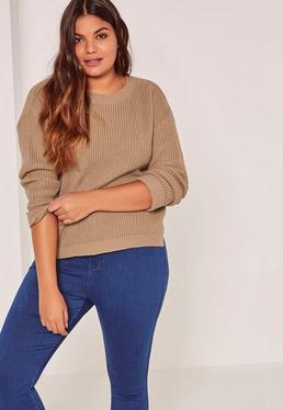 Jersey talla grande con cuello redondo en marrón