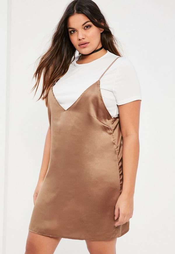 Plus Size Gold Satin 2-in-1 Dress