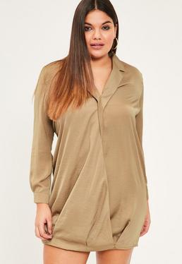 Beżowa zawijana sukienka koszulowa Plus Size