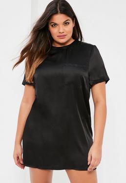Robe droite noire satinée avec poche grande taille