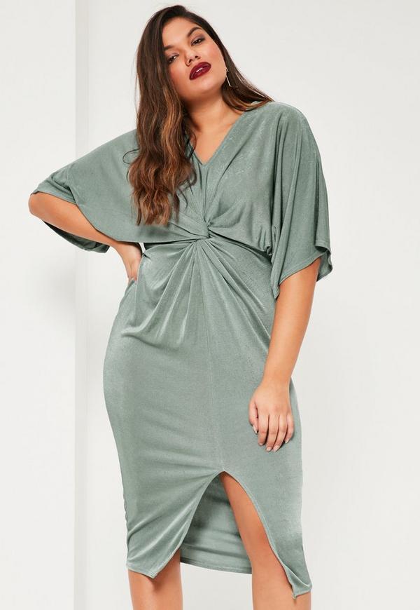 Plus Size Green Slinky Kimono Mini Dress