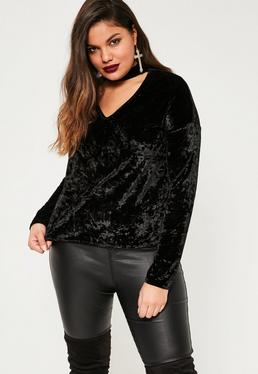 Plus Size Exclusive Black Choker Neck Top