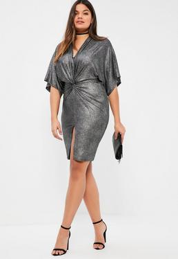 Plus Size Exclusive Silver Metallic Ribbed Knot Front Dress