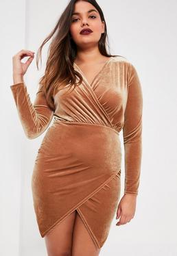 Plus Size Exclusive Brown Velvet Wrap Dress