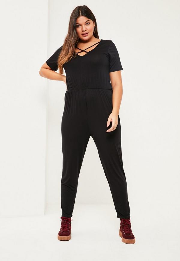 Plus Size Black Jersey Cross Front Jumpsuit