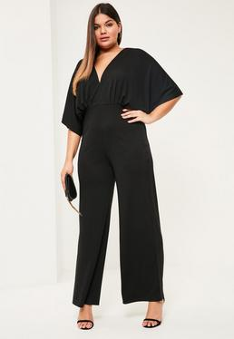Plus Size Black Slinky Wide Leg Jumpsuit