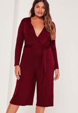 Plus Size Burgundy Jersey Wrap Plunge Jumpsuit