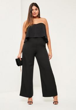 Plus Size Black Crepe Frill Wide Leg Jumpsuit