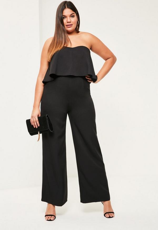 17b8f957f44 Plus Size Black Crepe Frill Wide Leg Jumpsuit