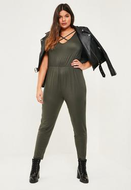Plus Size Khaki Jersey Cross Front Jumpsuit