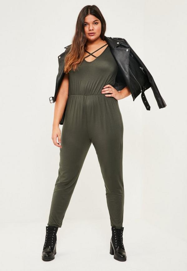 Plus Size Khaki Jersey Cross Front Jumpsuit