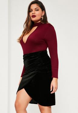Plus Size Black Velvet Wrap Midi Skirt