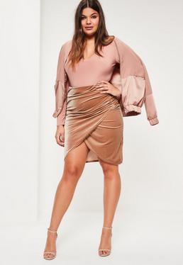 Plus Size Nude Velvet Wrap Midi Skirt