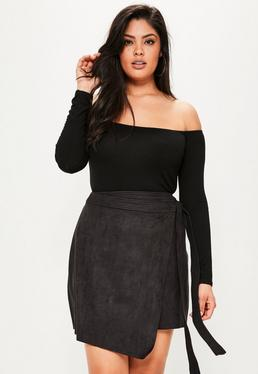 Plus Size Black Faux Suede Mini Skirt