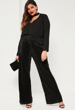 Czarne plisowane spodnie z szerokimi nogawkami Plus Size