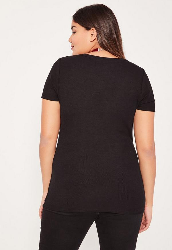 Plus Size Black Ribbed V-Neck T-Shirt  ac73f64df