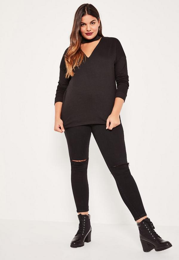 Plus size black choker neck sweater missguided