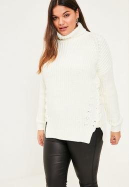 Plus Size White Chunky Lace Up Sweater