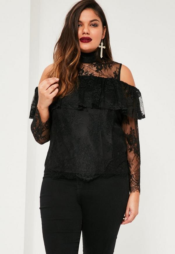 Plus Size Exclusive Black Lace Frill Top