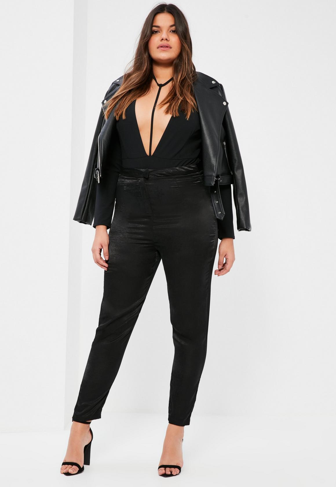 plus size black satin pants   missguided
