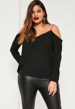 Plus Size Black Cold Shoulder Blouse