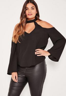 Plus Size Black Choker Neck Cold Shoulder Blouse