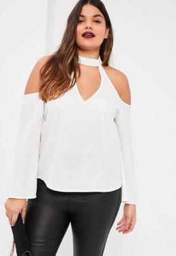 Biała bluzka z chokerem i wyciętymi ramionami Plus Size