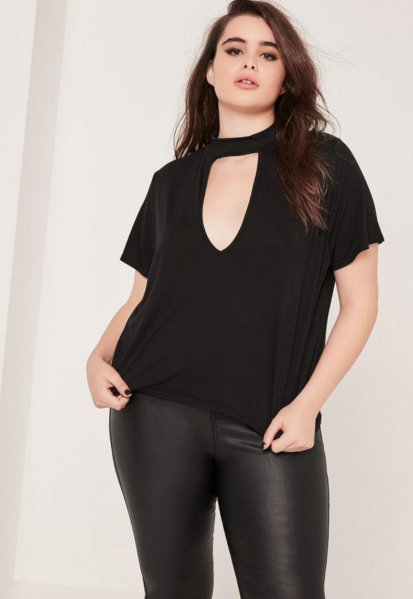 Plus Size Choker T-Shirt Black