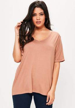 T-shirt boyfriend grande taille rose col V
