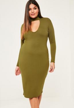 Dopasowana sukienka midi w kolorze khaki z chokerem plus size