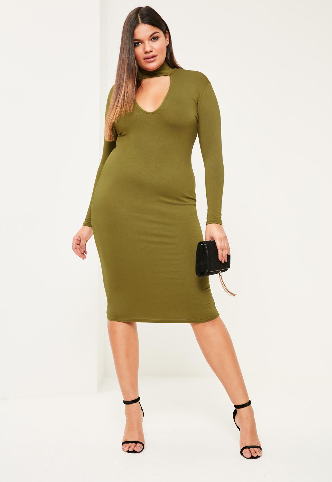 Plus Size Khaki Choker Neck Bodycon Dress - Missguided