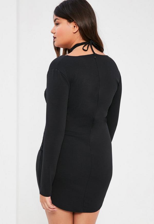 Plus Size Black Curve Hem Tie Neck Bodycon Dress Missguided
