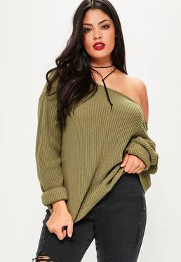 Plus Size Khaki Off Shoulder Knitted Jumper