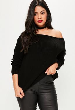 Plus Size Black Off Shoulder Knitted Jumper