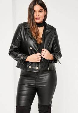 Plus Size Black Military Faux Leather Biker Jacket