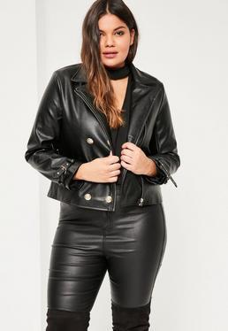 Plus Size Black Military Faux Leather Biker Jacket