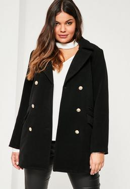 Plus Size Black Short Faux Wool Military Coat