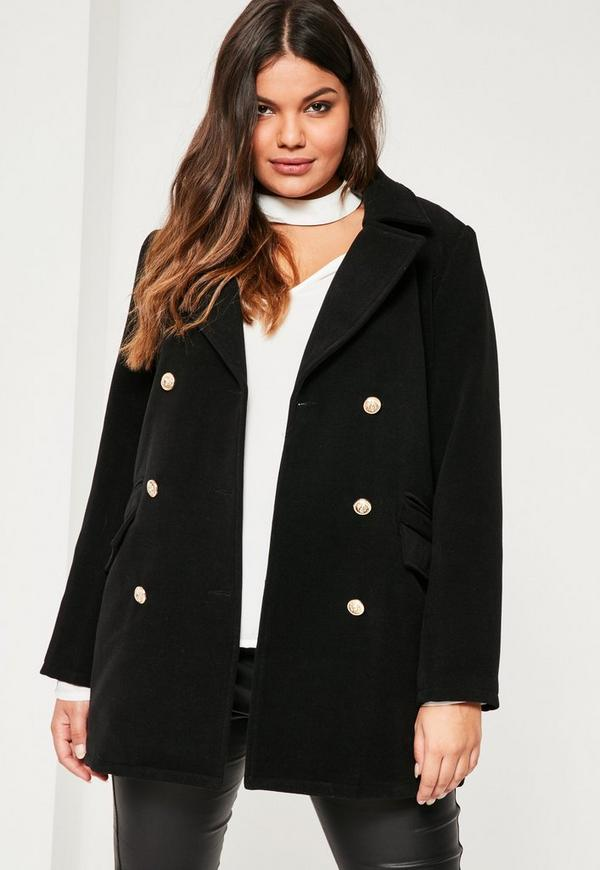Plus Size Black Short Faux Wool Military Coat - Missguided